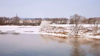 Channel is not frozen river Moskva and snow covered shore