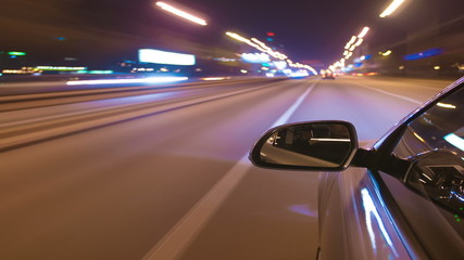Night car driving time lapse, wide angle, slider shot