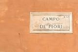 Campo de Fiori sign of famous street market in Rome