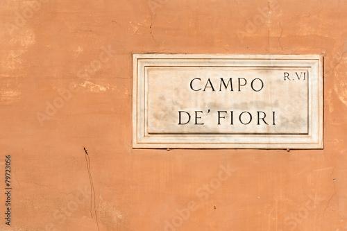 Fotobehang Rome Campo de Fiori sign of famous street market in Rome
