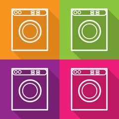 Vector washing machine flat icon. isolated