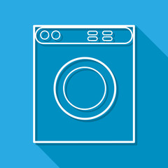 Vector washing machine flat icon. isolated on blue background