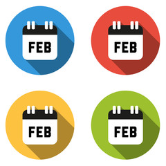 Collection of 4 isolated flat colorful buttons for February (cal