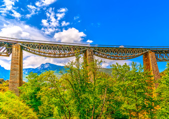 The historic bridge of Gorgopotamos river in central Greece. HDR