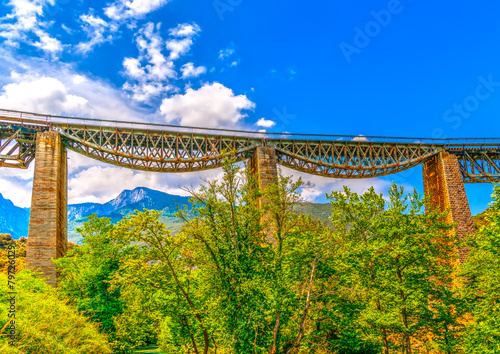 Poster The historic bridge of Gorgopotamos river in central Greece. HDR