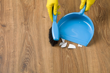 Concept cleaning - sweeping the floor