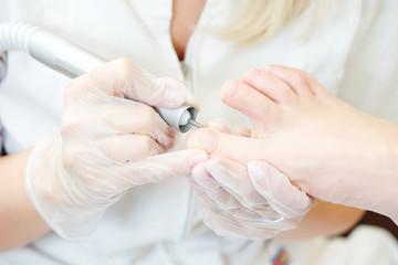 Pedicure in beauty salon