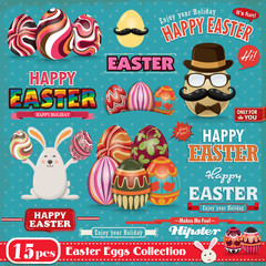 Vintage Easter egg design element set