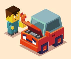 repairman and broken down car