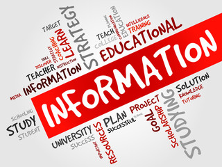 INFORMATION word cloud, education concept