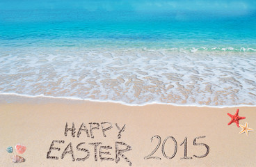 happy easter 2015 on a tropical beach