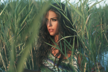 woman portrait in reed