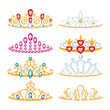 Set of beautyful golden tiaras with gemstones.