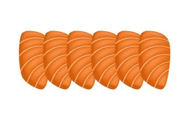 Salmon Sashimi or Sake Sashimi on White Background