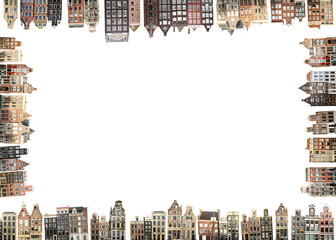 Amsterdam, Netherlands houses and streets, city view