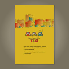 City and taxi. Poster.