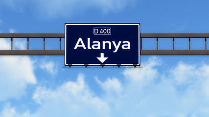 Alanya Turkey Highway Road Sign