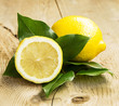 Healthy Lemon Fruit with Leaves