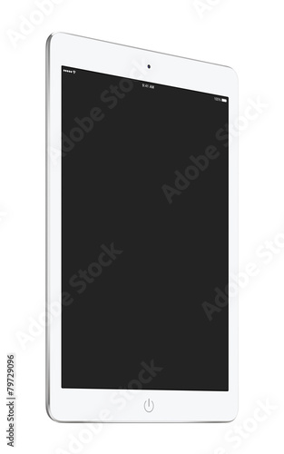 Turned white tablet pc with blank screen mockup - 79729096