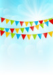 Color party flags on sunny background - 79729293