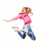 Hip hop dancer jumping high in the air