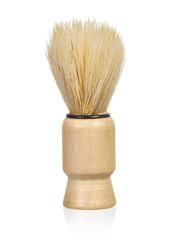 Shaving brush over white