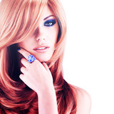 Fototapety Beautiful woman with long red hairs with blue makeup