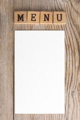 Menu legno carta