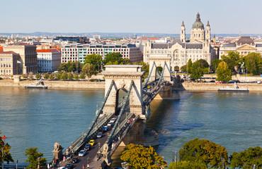 Traffic on Szechenyi Chain Bridge in Budapest, Hungary