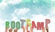Leinwanddruck Bild - Composite image of hands holding up boot camp