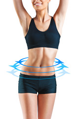 Beautiful woman body with blue arrow signs