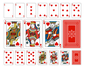 Bridge size Heart playing cards plus reverse