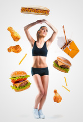 Fast food falling on a fit young woman