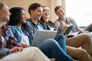 Students preparing for exams in home interior