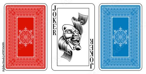 Bridge size Joker playing card plus reverse - 79730699
