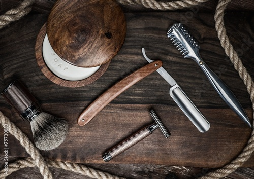 Shaving accessories on a luxury wooden background - 79730833