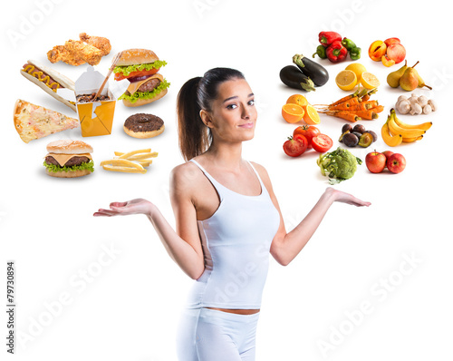 Unhealthy vs healthy food poster