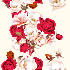 Floral seamless pattern with white and red roses in vintage styl © mashakotcur