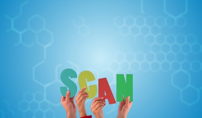 Composite image of hands holding up scan