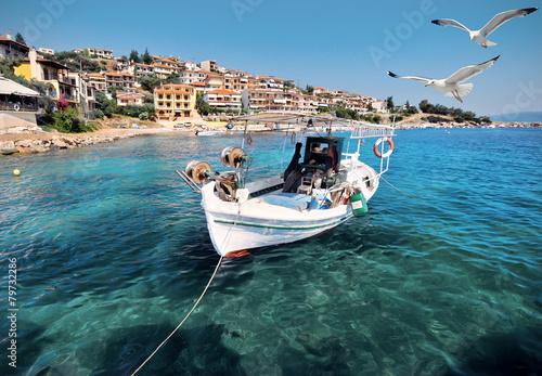 Leinwandbild Motiv Fishermen boat in Chalkidiki