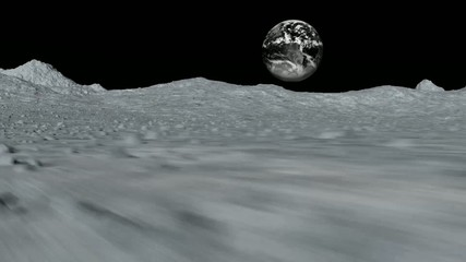 Tracking shot near the surface of the moon  - interferences