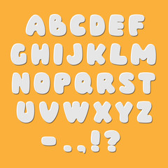 White paper style alphabet font