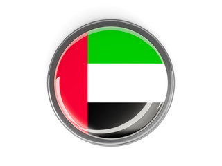 Round button with flag of united arab emirates