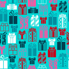 Colorful gift boxes seamless pattern.