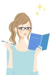 勉強する女性 笑顔
