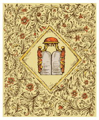 hand drawing jewish design ornamental background