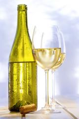 Weißwein Weinglas Flasche