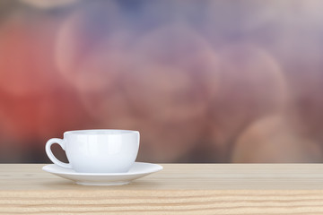 white cup of coffee on pine Wooden Table and bokeh,defocused lig