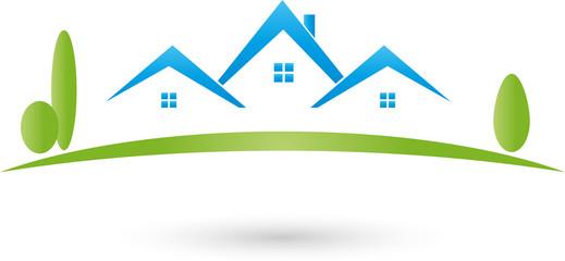 Logo, Immobilien, Drei Häuser, Grundstück