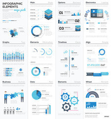 Big colletion of blue infographic business vector elements EPS10